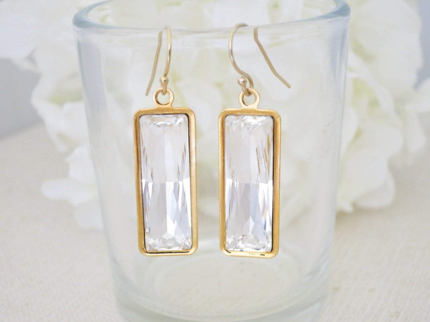 METRO:  Modern Baguette Bridal Earrings - BlingBaddaBoom - Minimalist, Vintage, Modern Wedding and Bridal Jewelry