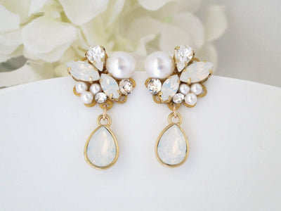 MONIKA:  Opal Cluster Drop Earrings - BlingBaddaBoom - Minimalist, Vintage, Modern Wedding and Bridal Jewelry