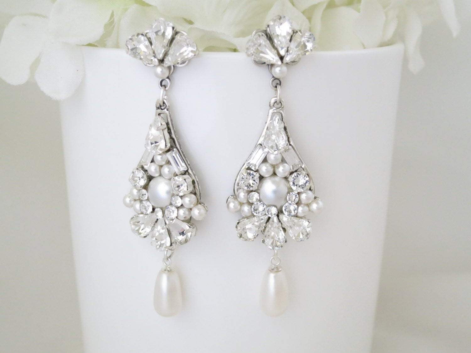 CLAUDETTE:  Statement Pearl Teardrop Chandelier - BlingBaddaBoom - Minimalist, Vintage, Modern Wedding and Bridal Jewelry