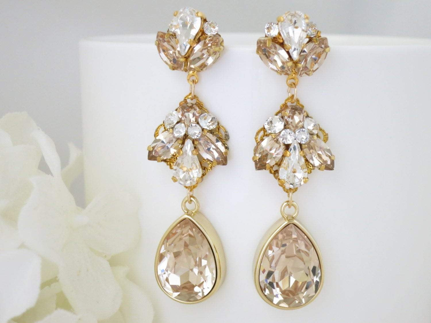 KENNEDY:  Champagne Teardrop Statement Earrings - BlingBaddaBoom - Minimalist, Vintage, Modern Wedding and Bridal Jewelry