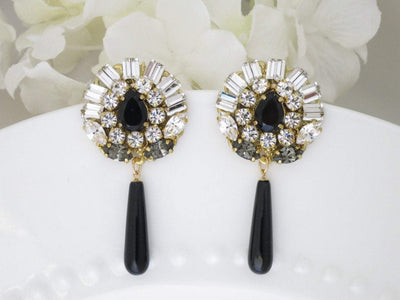 SAVOY:  Black Onyx Statement Earrings - BlingBaddaBoom - Minimalist, Vintage, Modern Wedding and Bridal Jewelry