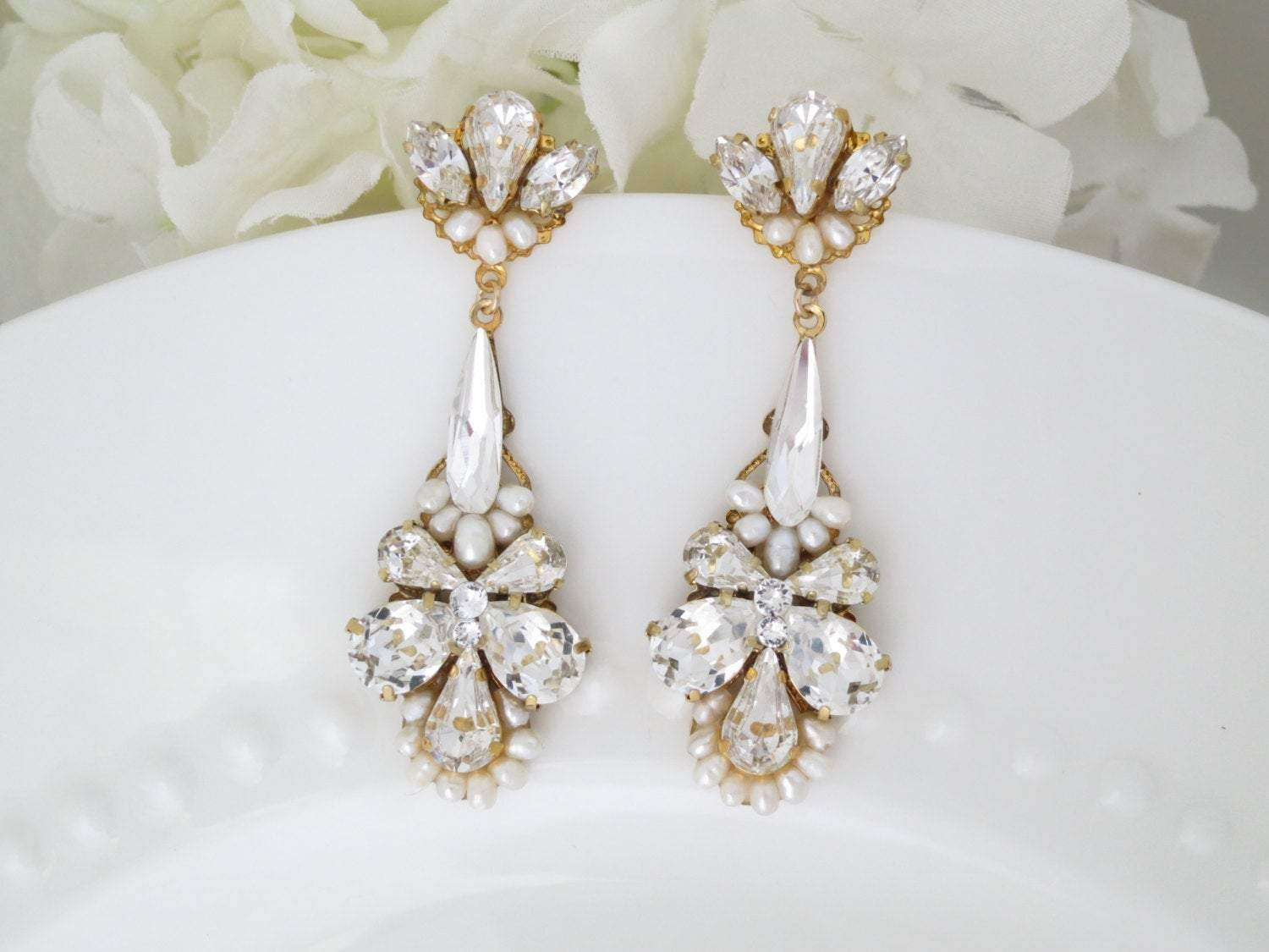 LACEY:  Crystal Teardrop Bridal Earrings - BlingBaddaBoom - Minimalist, Vintage, Modern Wedding and Bridal Jewelry