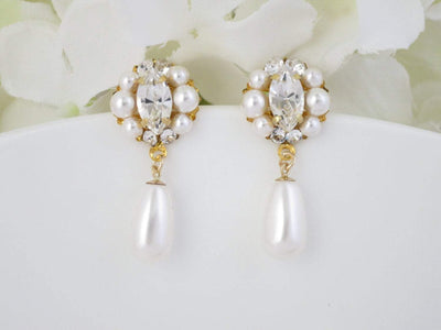 APRIL:  Simple Rhinestone and Pearl Drop Earrings - BlingBaddaBoom - Minimalist, Vintage, Modern Wedding and Bridal Jewelry
