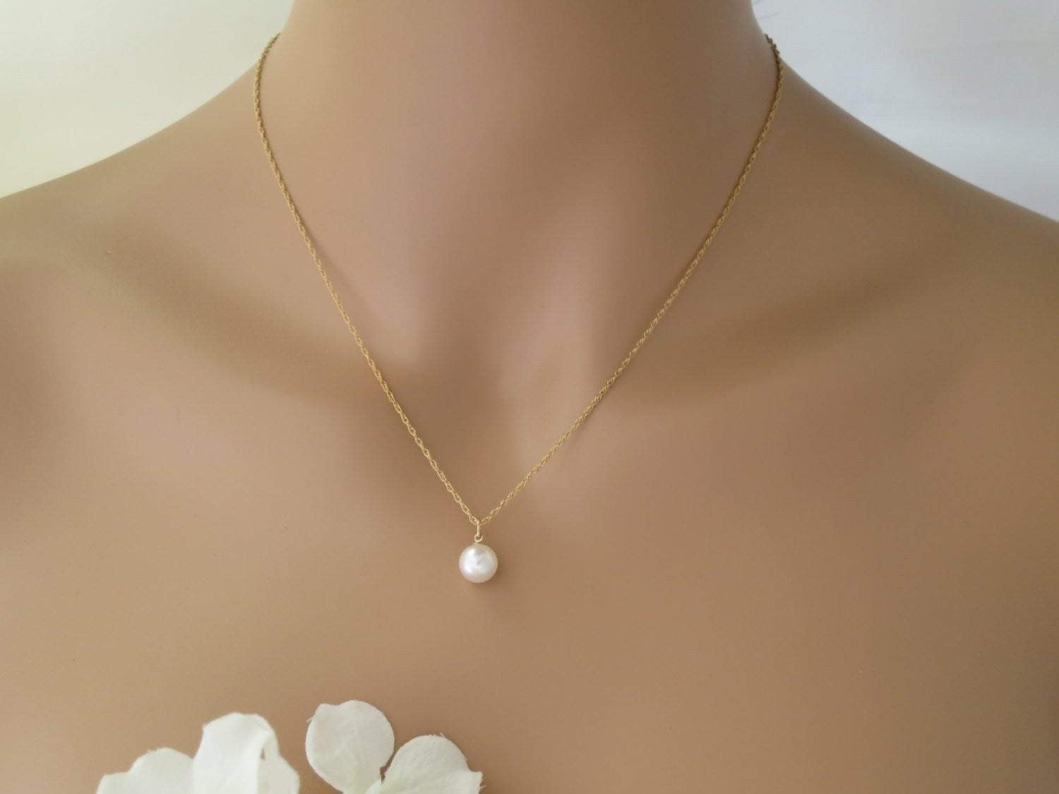 JANA:  Pearl Backdrop Necklace - BlingBaddaBoom - Minimalist, Vintage, Modern Wedding and Bridal Jewelry