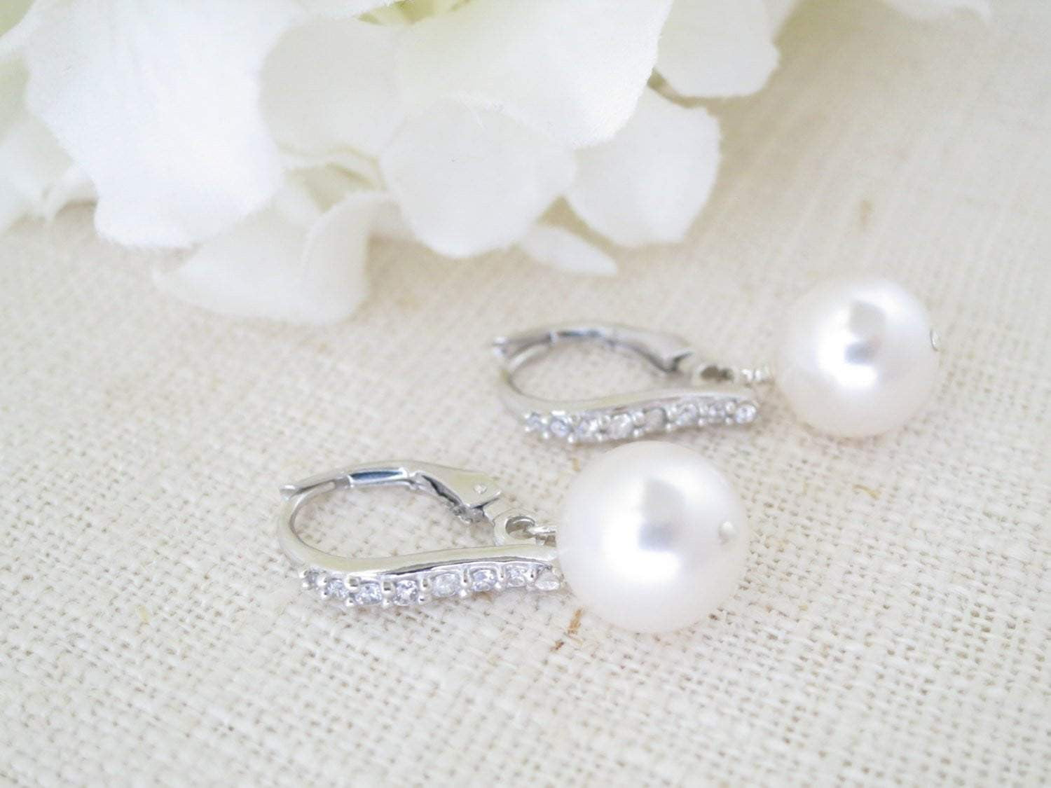 PIPER:  Simple Pearl Drop Earrings - BlingBaddaBoom - Minimalist, Vintage, Modern Wedding and Bridal Jewelry