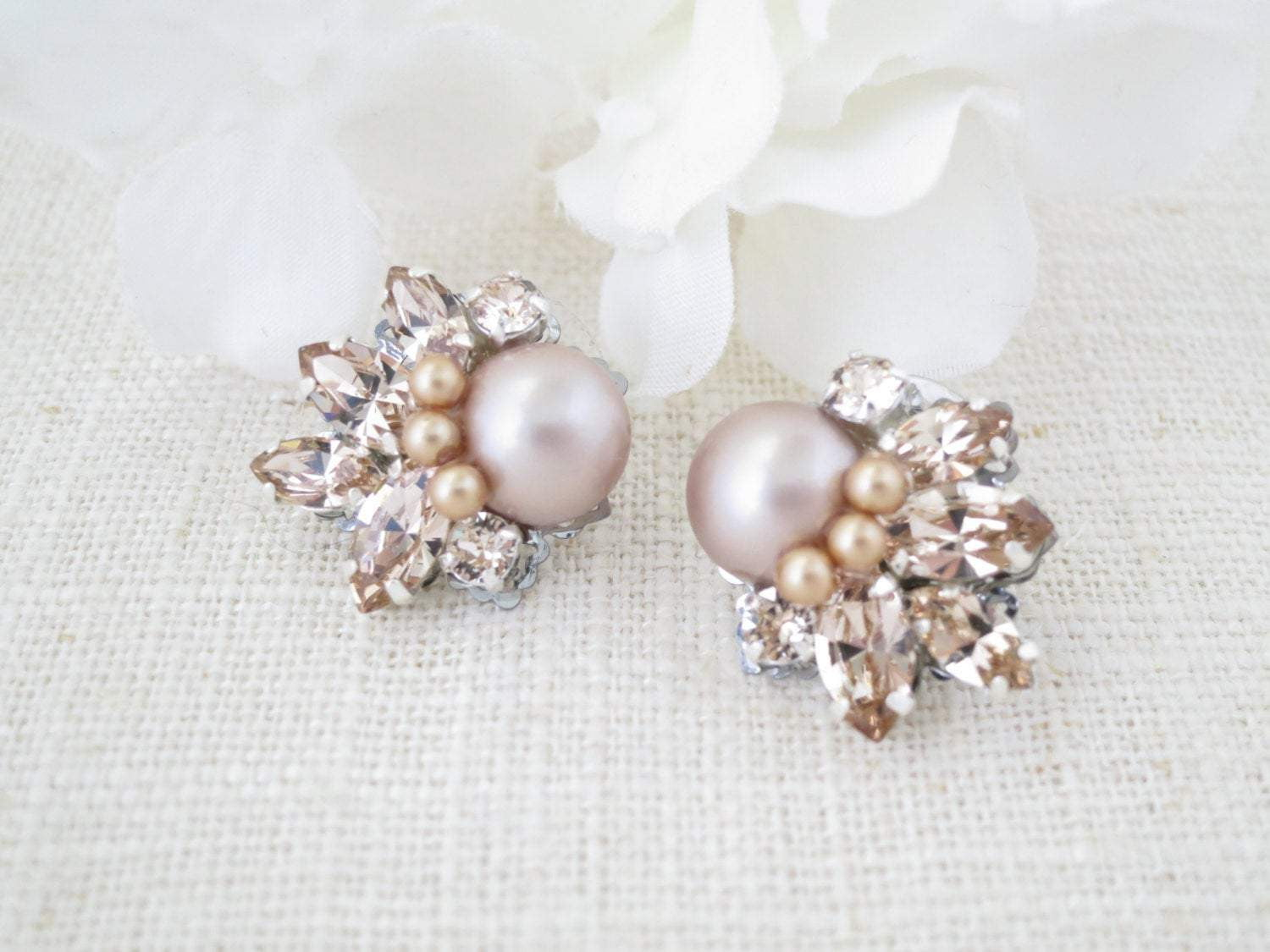 HARRIS:  Champagne Pearl Cluster Earrings - BlingBaddaBoom - Minimalist, Vintage, Modern Wedding and Bridal Jewelry