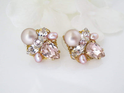 WHITNEY:  Muted Blush Pink Bridal Earrings - BlingBaddaBoom - Minimalist, Vintage, Modern Wedding and Bridal Jewelry