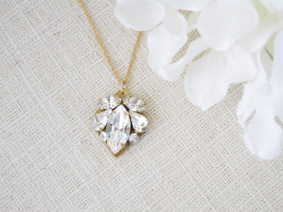 CORRINE:  Crystal Marquise Pendant Necklace - BlingBaddaBoom - Minimalist, Vintage, Modern Wedding and Bridal Jewelry