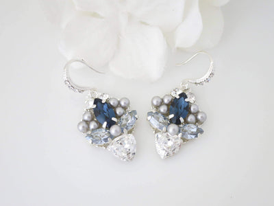 PETRA:  Navy Blue Marquise Earrings - BlingBaddaBoom - Minimalist, Vintage, Modern Wedding and Bridal Jewelry