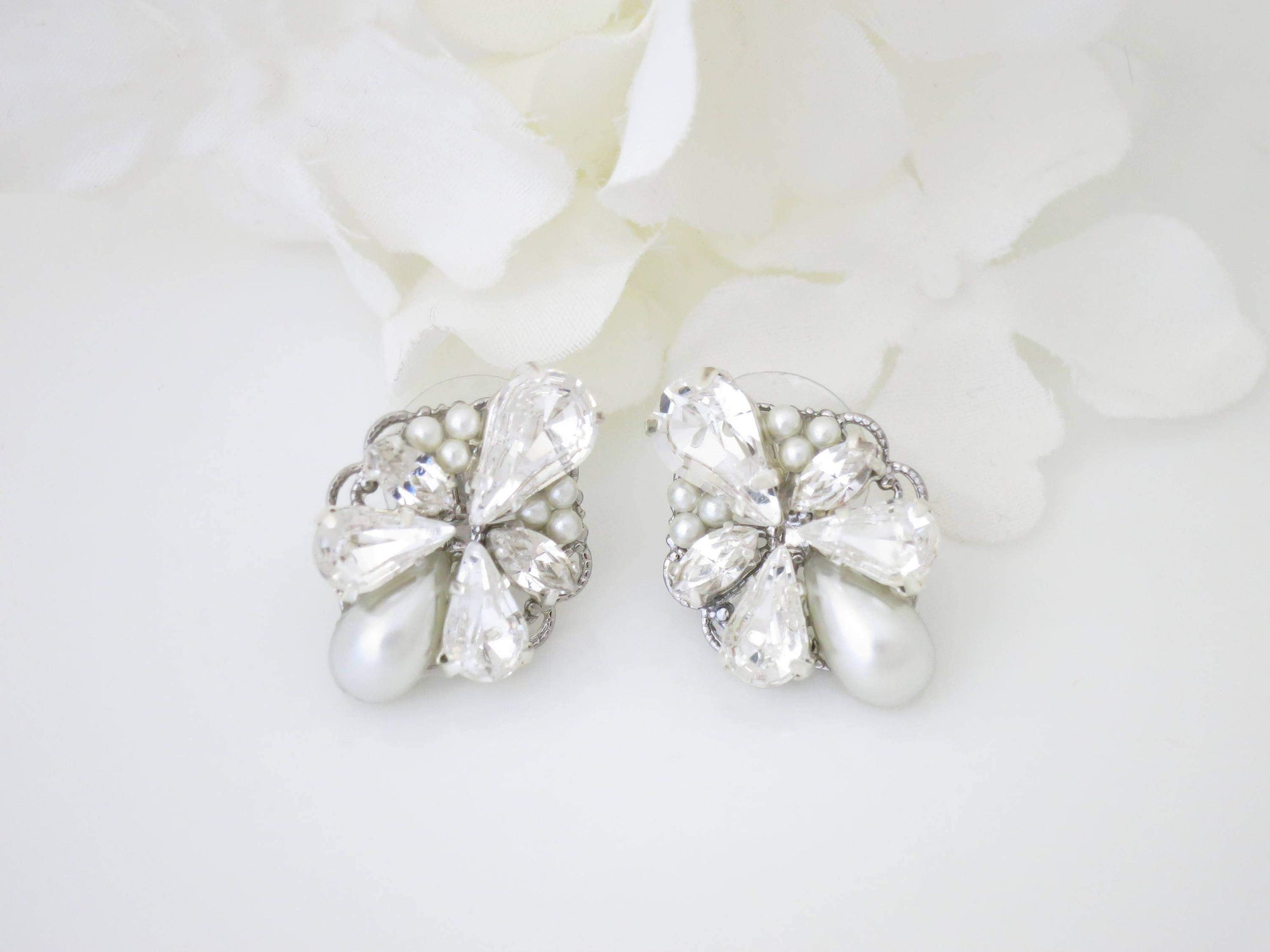 HILLARY:  Romantic Rhinestone and Pearl Cluster Earrings - BlingBaddaBoom - Minimalist, Vintage, Modern Wedding and Bridal Jewelry