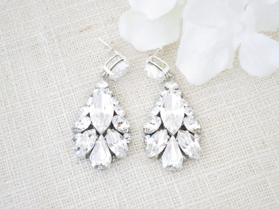 HADLEY:  Swarovski Rhinestone Teardrop Bridal Earrings - BlingBaddaBoom - Minimalist, Vintage, Modern Wedding and Bridal Jewelry