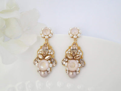 VERONICA:  Vintage Style Blush Drop Earrings - BlingBaddaBoom - Minimalist, Vintage, Modern Wedding and Bridal Jewelry