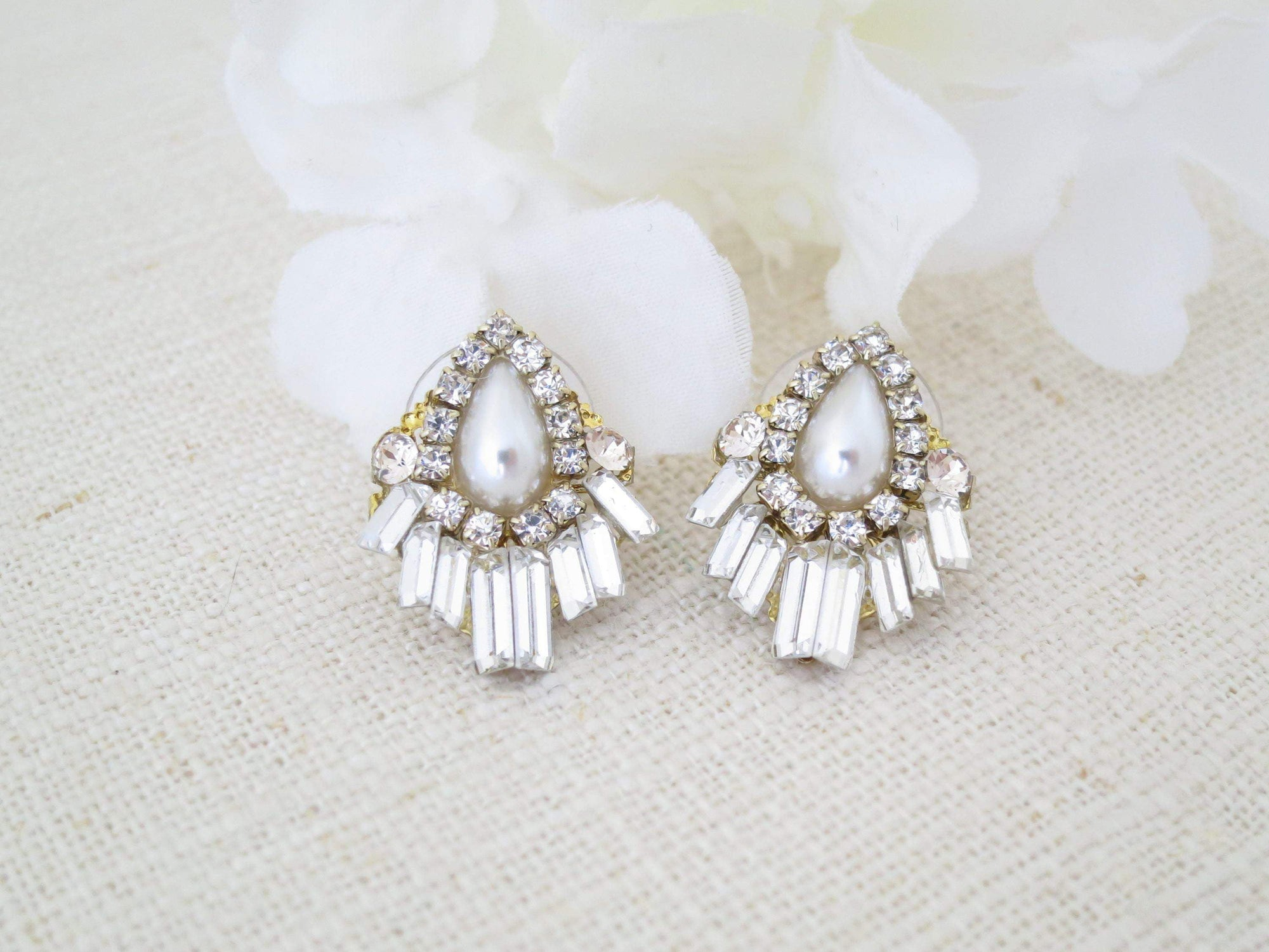 ADDISON:  Post Style Art Deco Baguette Earrings - BlingBaddaBoom - Minimalist, Vintage, Modern Wedding and Bridal Jewelry