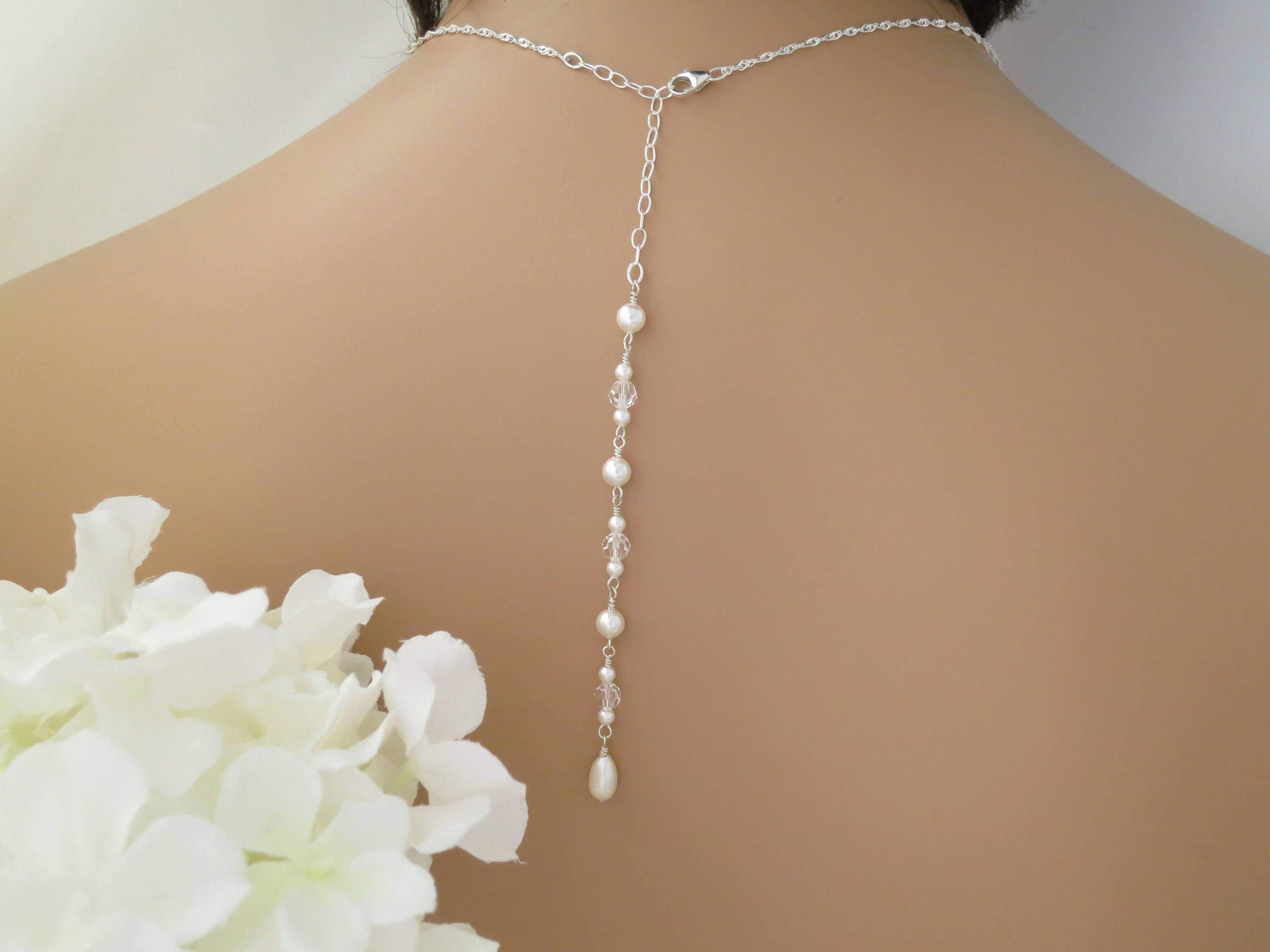 MARRIS:  Simple Crystal and Pearl Backdrop Necklace - BlingBaddaBoom - Minimalist, Vintage, Modern Wedding and Bridal Jewelry