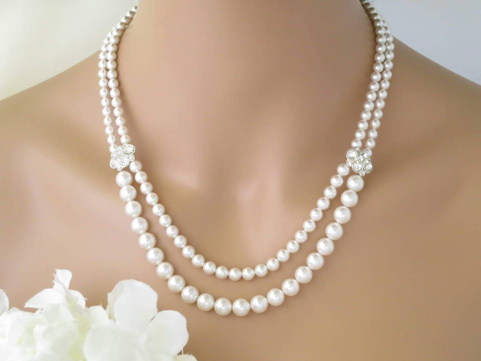 EVELYN:  Double Strand Pearl Necklace - BlingBaddaBoom - Minimalist, Vintage, Modern Wedding and Bridal Jewelry