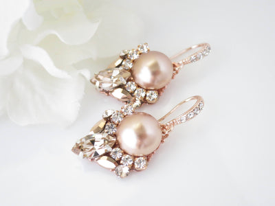 PAULA:  Unique Rose Gold Bridal Earrings - BlingBaddaBoom - Minimalist, Vintage, Modern Wedding and Bridal Jewelry