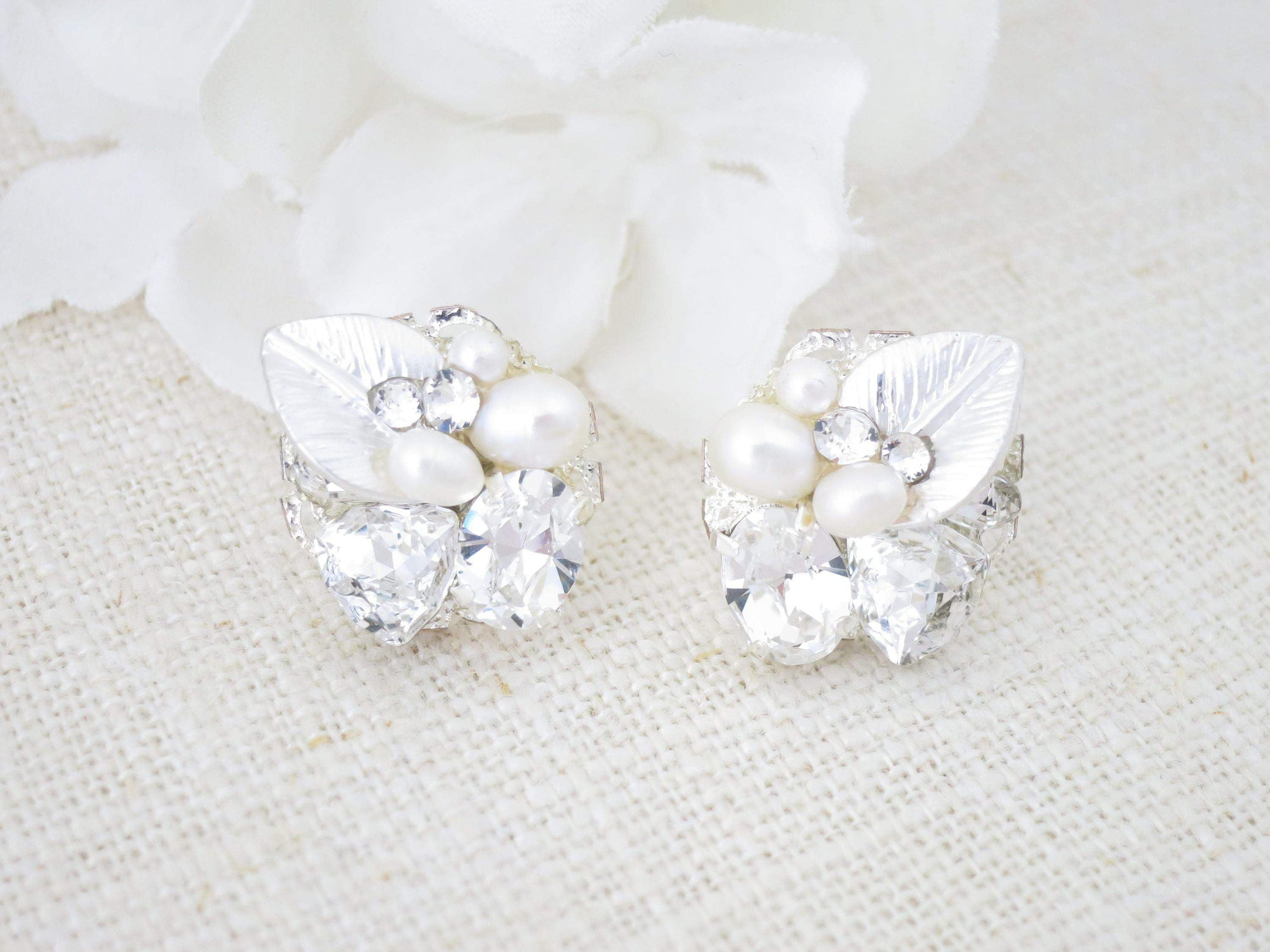 BRISTOL:  Dainty Rhinestone Leaf Earrings - BlingBaddaBoom - Minimalist, Vintage, Modern Wedding and Bridal Jewelry