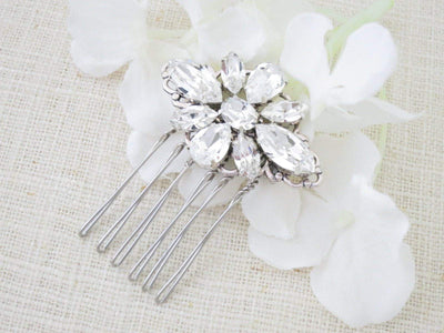 LUCY:  Petite Crystal Hair Comb - BlingBaddaBoom - Minimalist, Vintage, Modern Wedding and Bridal Jewelry