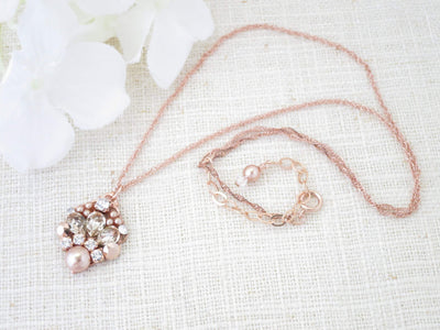 TORRIE:  Rose Gold Pendant Necklace - BlingBaddaBoom - Minimalist, Vintage, Modern Wedding and Bridal Jewelry