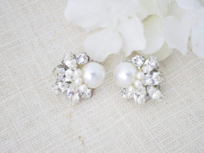 TARA:  Elegant Pearl and Crystal Bridal Earrings - BlingBaddaBoom - Minimalist, Vintage, Modern Wedding and Bridal Jewelry