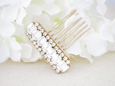 NEWPORT:  Emerald Cut Crystal Comb - BlingBaddaBoom - Minimalist, Vintage, Modern Wedding and Bridal Jewelry
