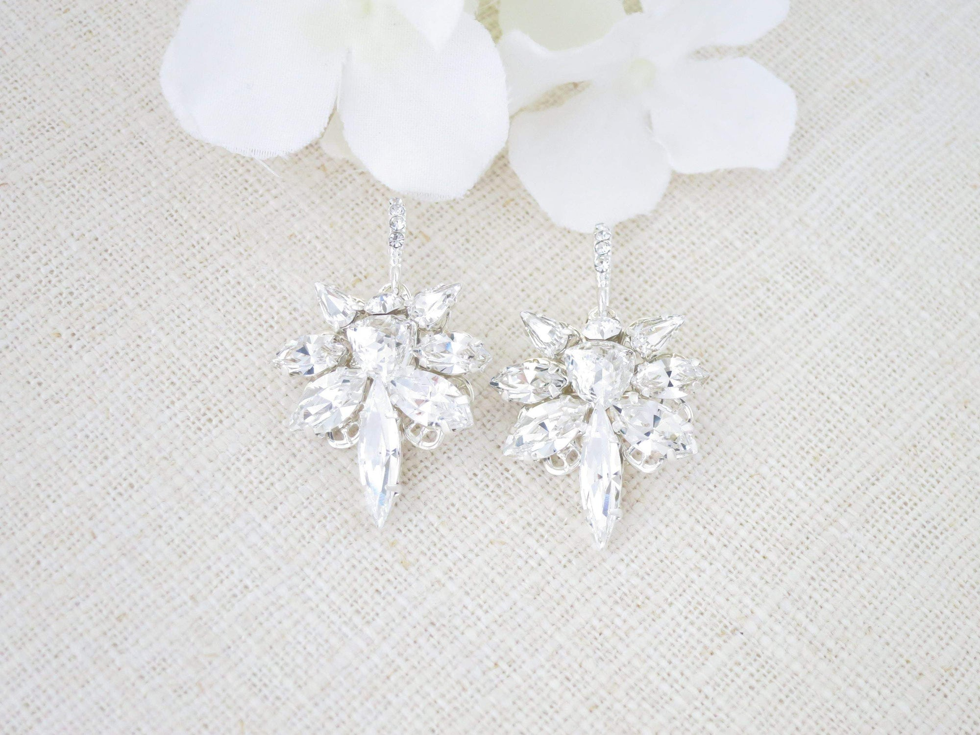 HARMONY:  Crystal Star Earrings - BlingBaddaBoom - Minimalist, Vintage, Modern Wedding and Bridal Jewelry