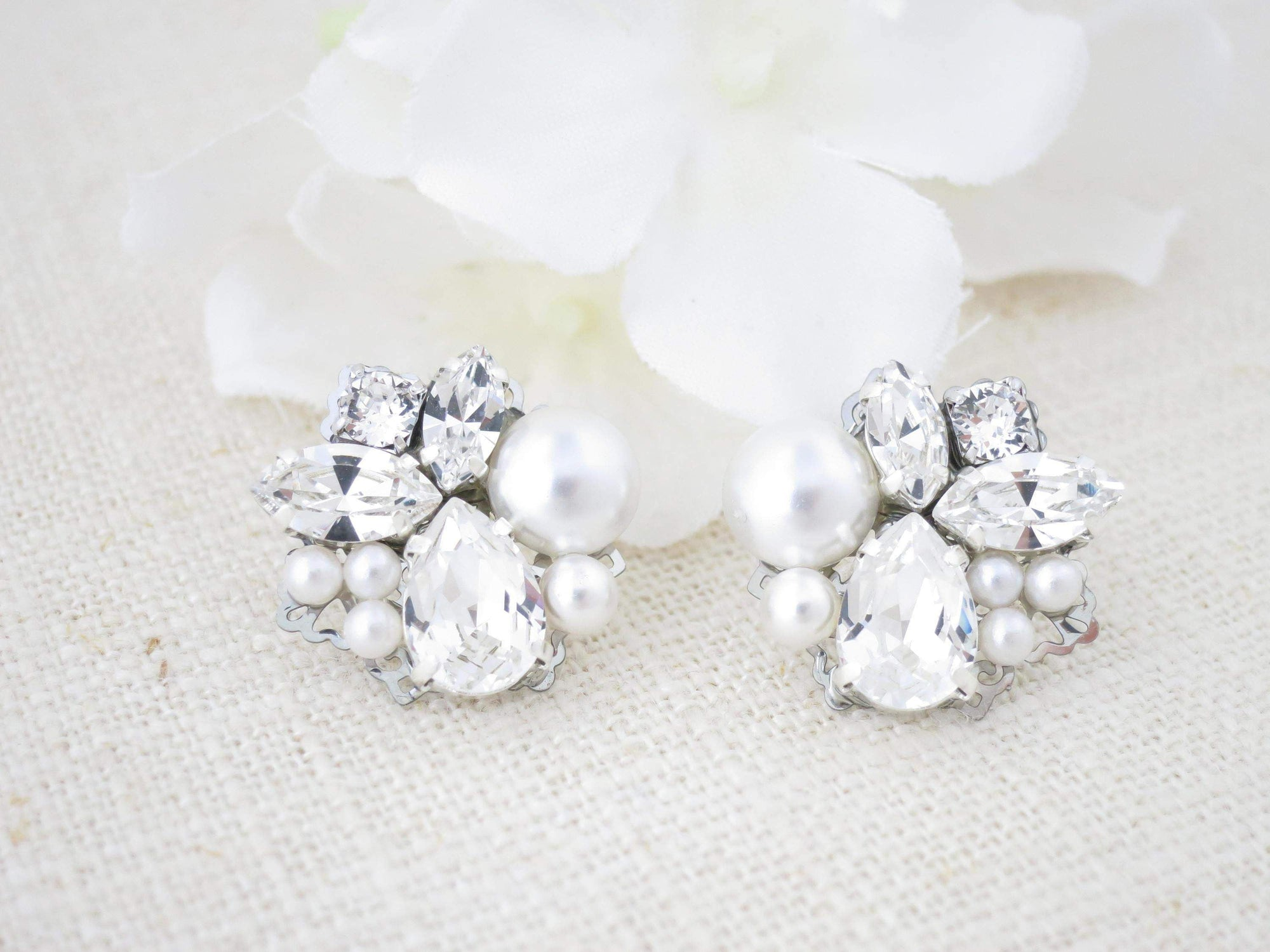 TIFFANY:  Vintage Style Cluster Earrings - BlingBaddaBoom - Minimalist, Vintage, Modern Wedding and Bridal Jewelry