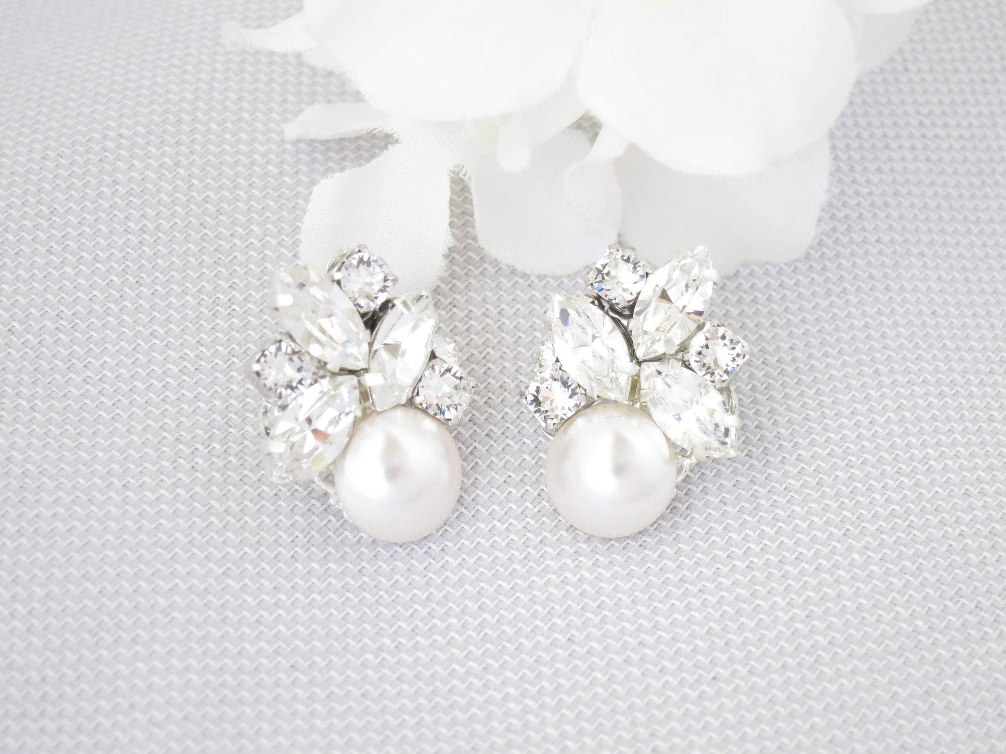 AUDREY:  Swarovski Cluster Stud Earrings - BlingBaddaBoom - Minimalist, Vintage, Modern Wedding and Bridal Jewelry