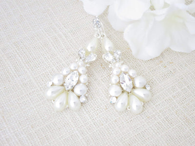 RENEE:  Statement Pearl Chandelier Earrings - BlingBaddaBoom - Minimalist, Vintage, Modern Wedding and Bridal Jewelry