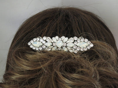 NICHOLE:  Opal Rhinestone Hair Brooch - BlingBaddaBoom - Minimalist, Vintage, Modern Wedding and Bridal Jewelry