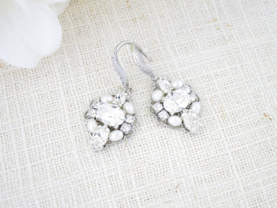 ELIZABETH:  Timeless Antique Silver Wedding Earrings - BlingBaddaBoom - Minimalist, Vintage, Modern Wedding and Bridal Jewelry