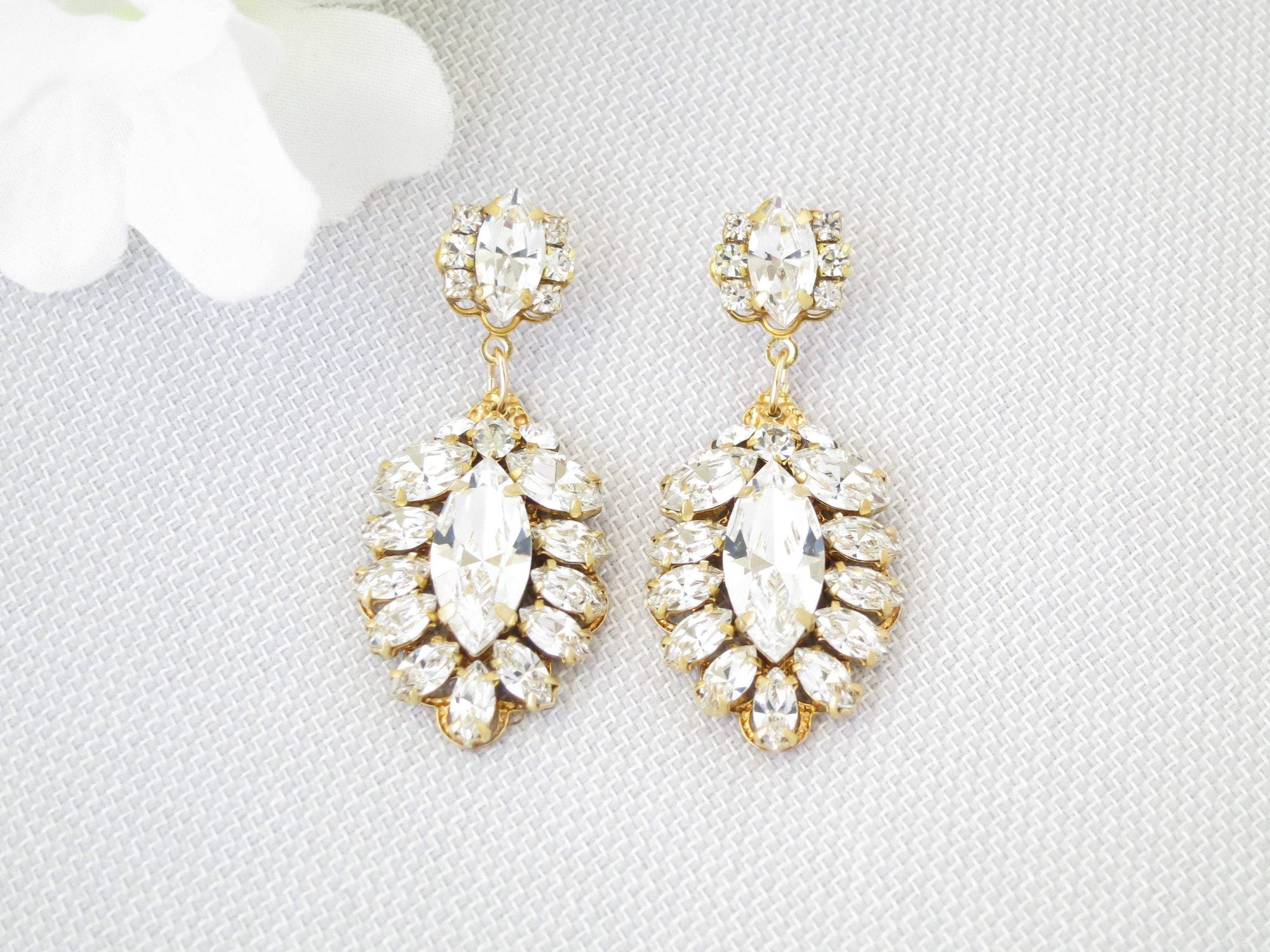 KIM:  Cascading Marquise Drop Earrings - BlingBaddaBoom - Minimalist, Vintage, Modern Wedding and Bridal Jewelry