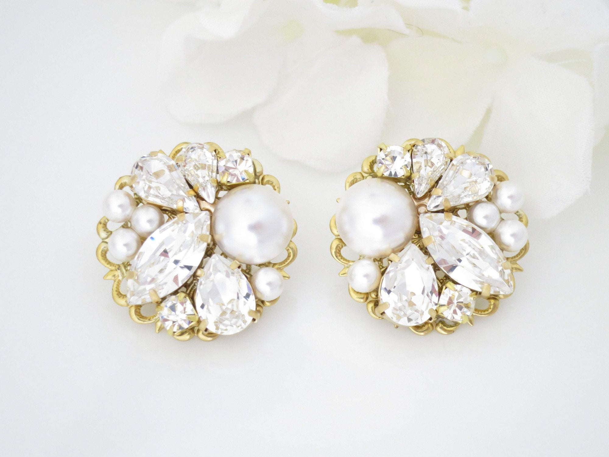 JUNE:  Large Vintage Style Cluster Earrings - BlingBaddaBoom - Minimalist, Vintage, Modern Wedding and Bridal Jewelry