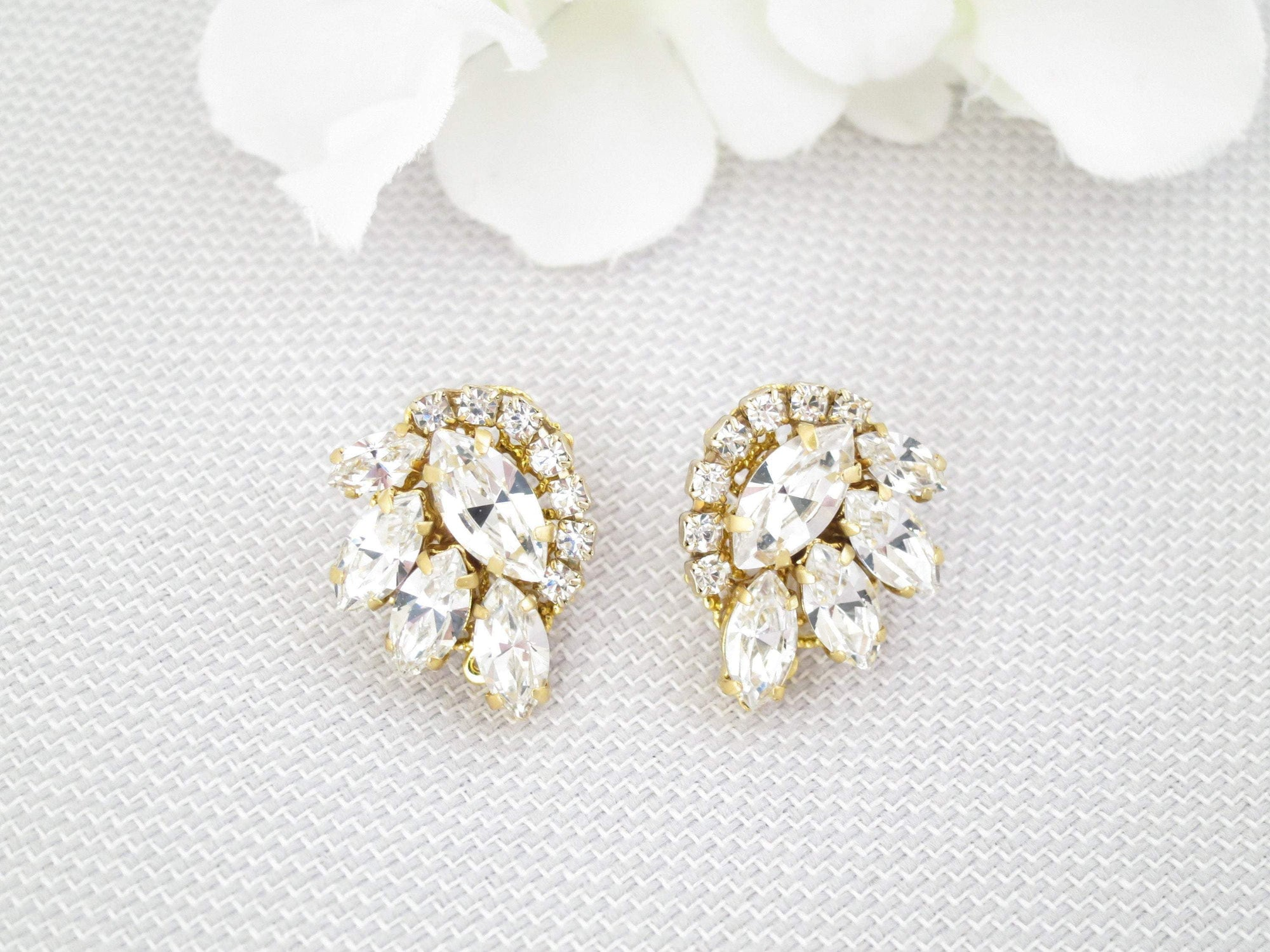 DARCY:  Petite Crystal Post Style Earrings - BlingBaddaBoom - Minimalist, Vintage, Modern Wedding and Bridal Jewelry