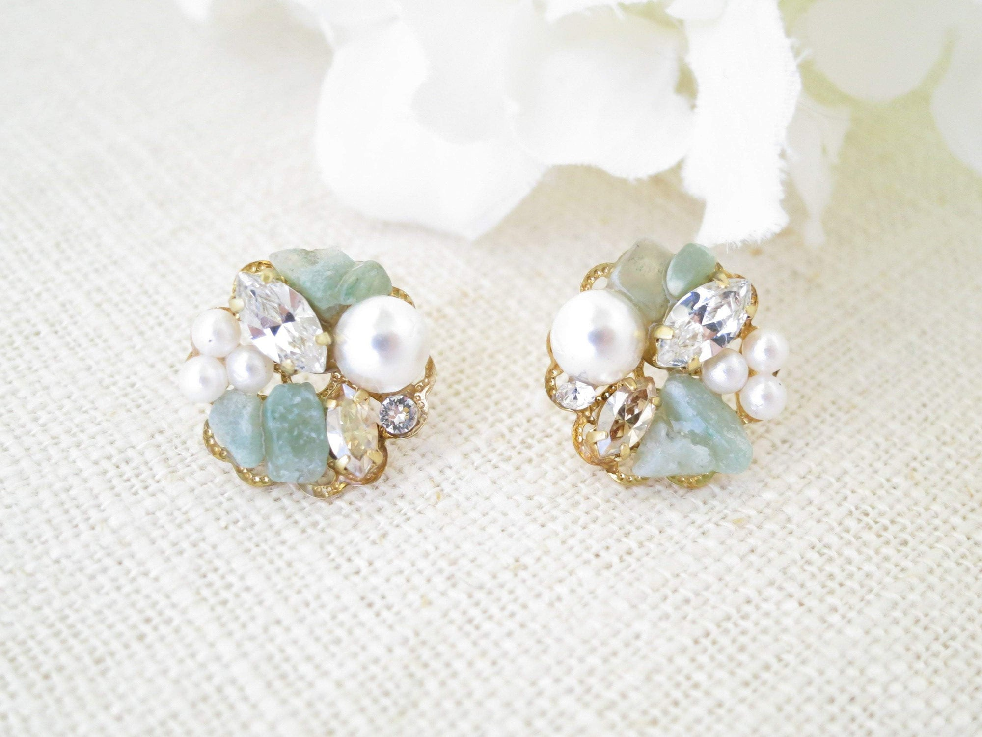 BAILEY:  Green Gemstone Cluster Stud Earrings - BlingBaddaBoom - Minimalist, Vintage, Modern Wedding and Bridal Jewelry