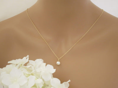 OLIVIA:  Minimalist Pearl Backdrop Necklace - BlingBaddaBoom - Minimalist, Vintage, Modern Wedding and Bridal Jewelry