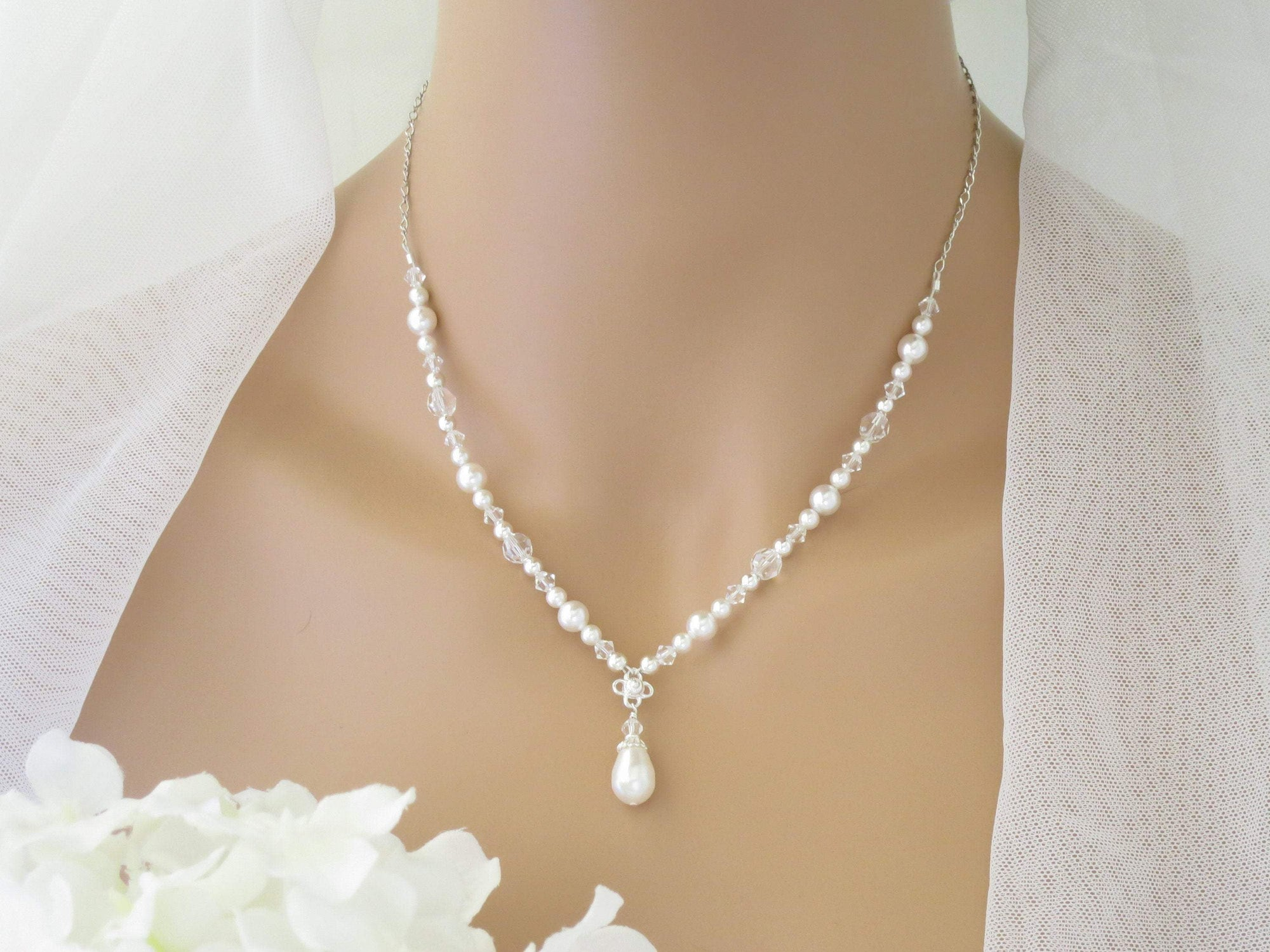 IVY:  Vintage Style Pearl Necklace - BlingBaddaBoom - Minimalist, Vintage, Modern Wedding and Bridal Jewelry