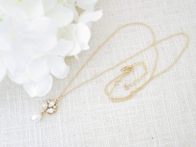SKYLAR:  Dainty Freshwater Pearl Pendant Necklace - BlingBaddaBoom - Minimalist, Vintage, Modern Wedding and Bridal Jewelry