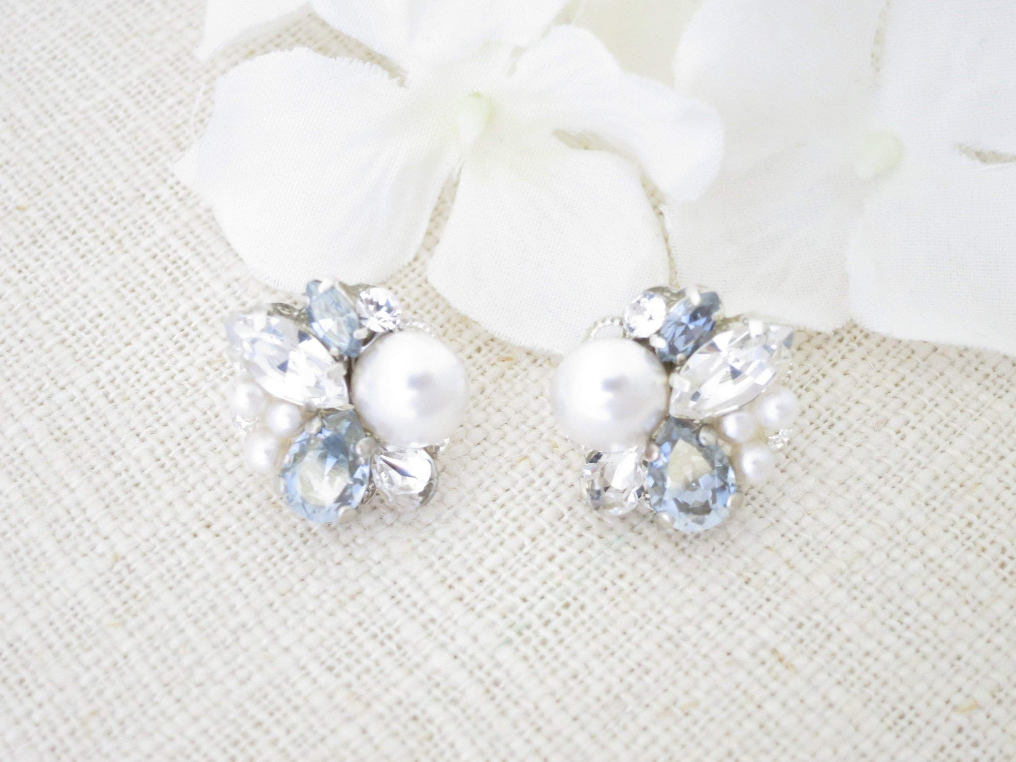 DIANA:  Dusty Blue Cluster Bridal Earrings - BlingBaddaBoom - Minimalist, Vintage, Modern Wedding and Bridal Jewelry