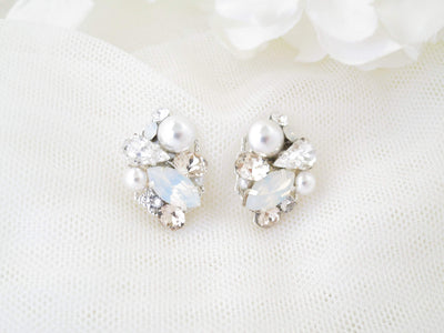 REBECCA:  Opal and Pearl Bridal Earrings - BlingBaddaBoom - Minimalist, Vintage, Modern Wedding and Bridal Jewelry