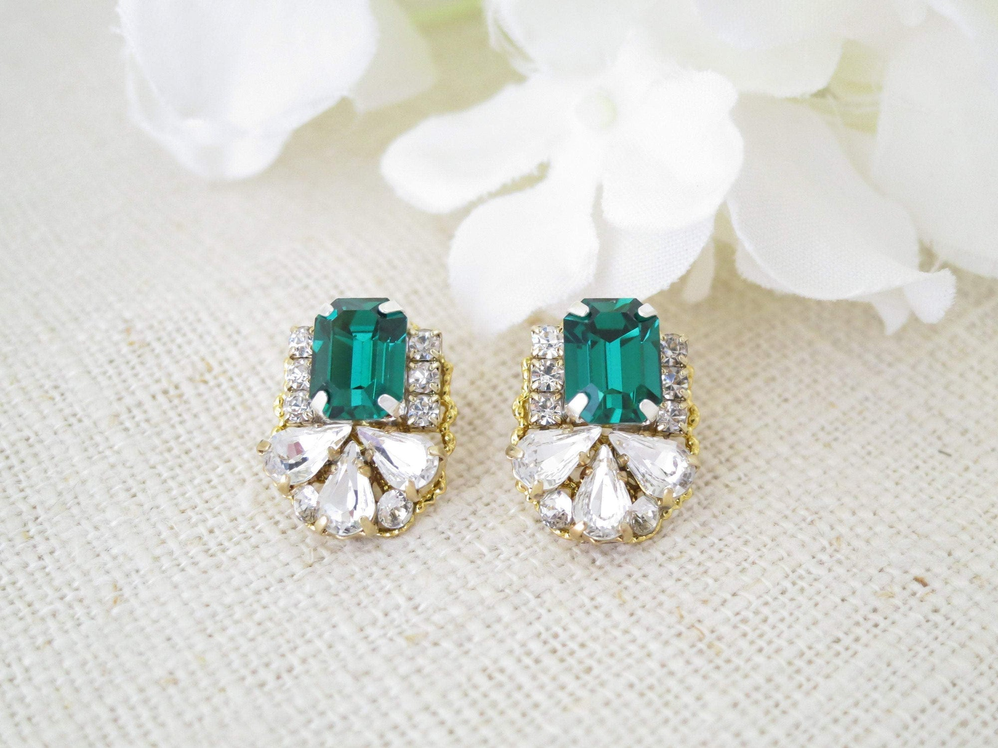 MAY:  Emerald Green Stud Earrings - BlingBaddaBoom - Minimalist, Vintage, Modern Wedding and Bridal Jewelry