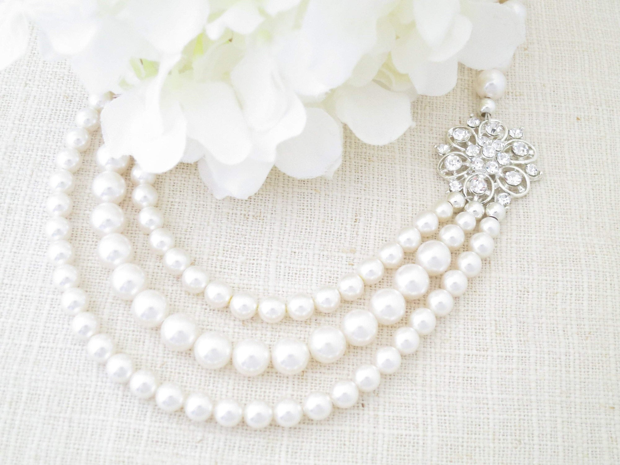 LARA:  Triple Strand Pearl Necklace - BlingBaddaBoom - Minimalist, Vintage, Modern Wedding and Bridal Jewelry