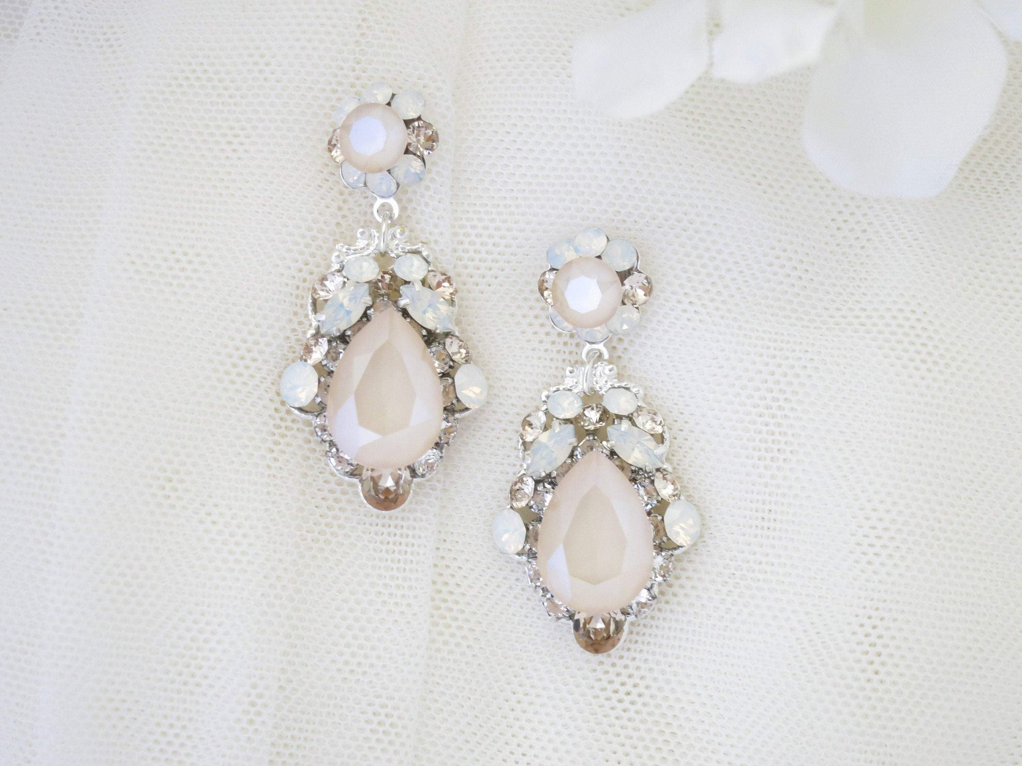 CHRISTINE:  Flirty Teardrop Chandelier Earrings - BlingBaddaBoom - Minimalist, Vintage, Modern Wedding and Bridal Jewelry