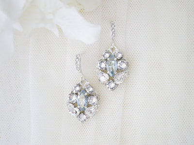 EMILY:  Swarovski Crystal Dangle Earrings - BlingBaddaBoom - Minimalist, Vintage, Modern Wedding and Bridal Jewelry