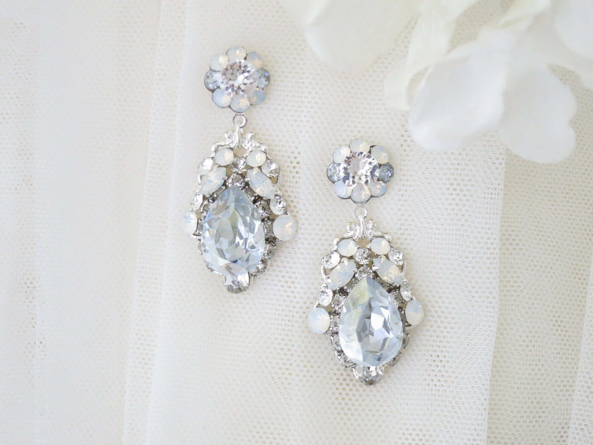 FROST:  Dusty Blue and White Opal Earrings - BlingBaddaBoom - Minimalist, Vintage, Modern Wedding and Bridal Jewelry