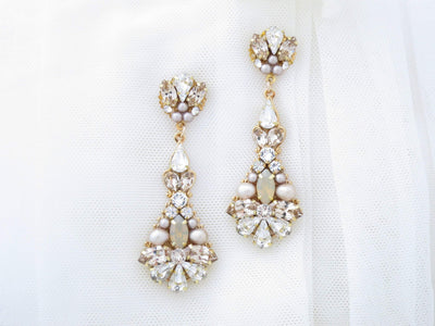 NADIA:  Glamorous Champagne Statement Bridal Earrings - BlingBaddaBoom - Minimalist, Vintage, Modern Wedding and Bridal Jewelry