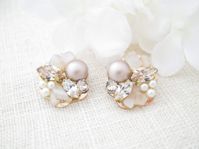 MANHATTAN:  Moonstone Cluster Stud Bridal Earrings - BlingBaddaBoom - Minimalist, Vintage, Modern Wedding and Bridal Jewelry