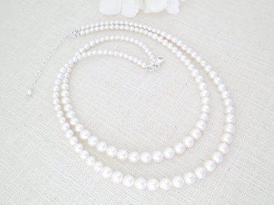 SARAH:  Simple Pearl Double Strand Necklace - BlingBaddaBoom - Minimalist, Vintage, Modern Wedding and Bridal Jewelry