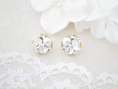 DALIA:  Crystal and Pearl Button Stud Earrings - BlingBaddaBoom - Minimalist, Vintage, Modern Wedding and Bridal Jewelry