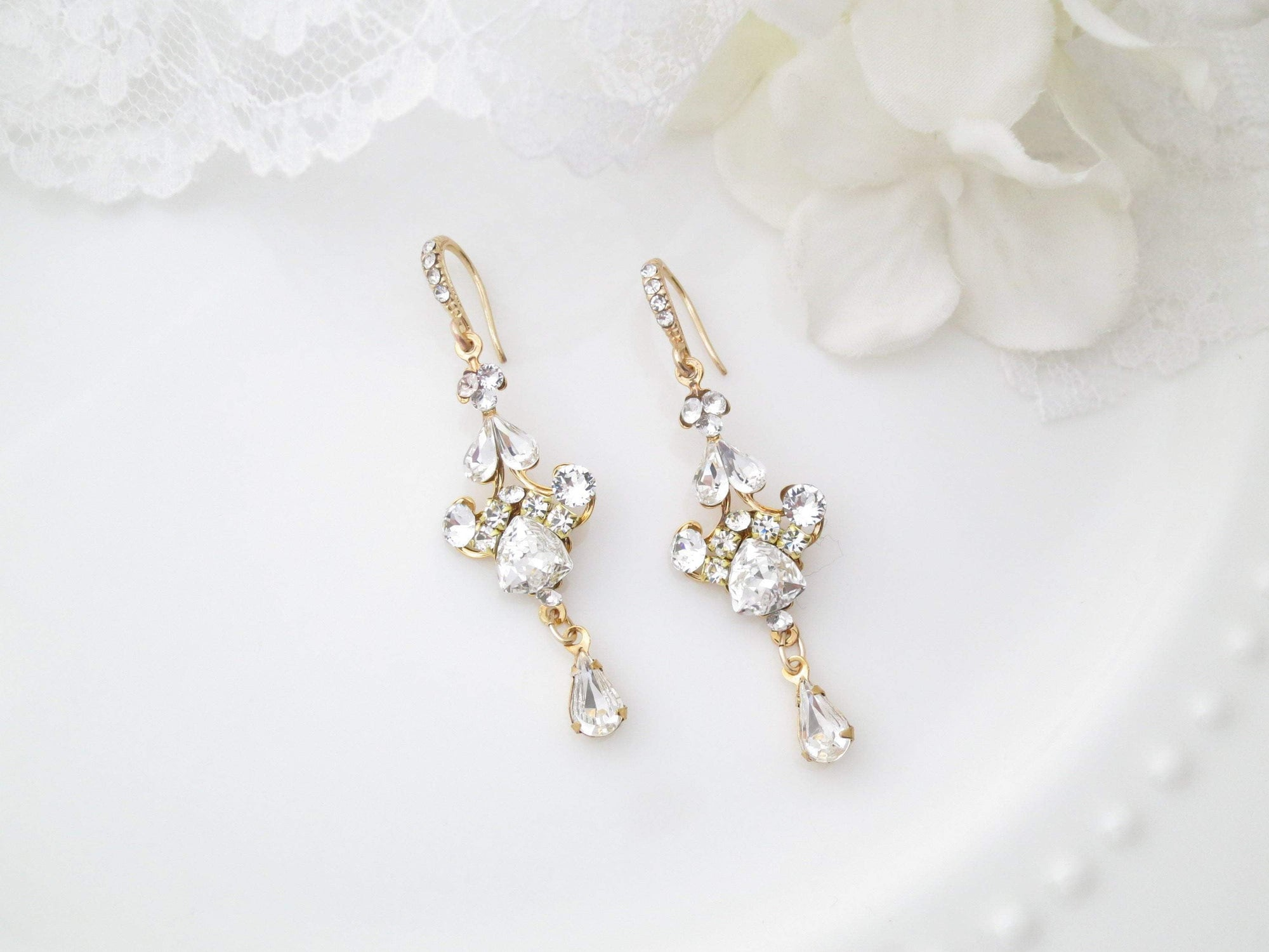 MAGGIE:  Vintage Style Crystal Dangle Earrings - BlingBaddaBoom - Minimalist, Vintage, Modern Wedding and Bridal Jewelry